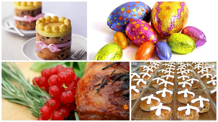 Easter delicacies like simnel cke, Easter eggs, roast lamb and the hot cross buns baked on Good Friday all have a traditional significance. Photos: Freeimages, Pinterest