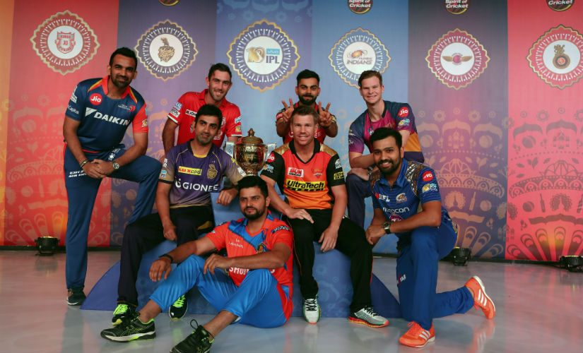 IPL 2017 captains pose with the trophy before the start of the tournament. Sportzpics