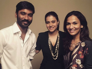 Dhanush, Kajol and Soundarya Rajinikanth. Twitter
