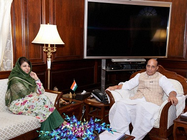 Rajnath Singh with Jammu and Kashmir Chief Minister Mehbooba Mufti. PTI