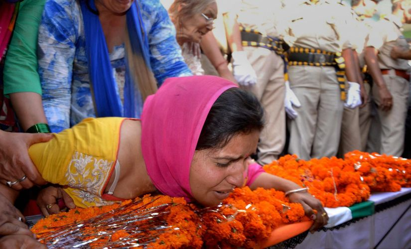 Wife of a CRPF personnel who died in Sukma on Tuesday. PTI