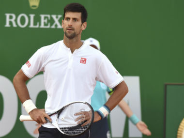 Novak Djokovic reacts during his match against David Goffin at the Monte Carlo Masters. AFP