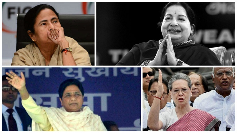 Clockwise from top left: Mamata Banerjee; Jayalalithaa; Sonia Gandhi; Mayawati