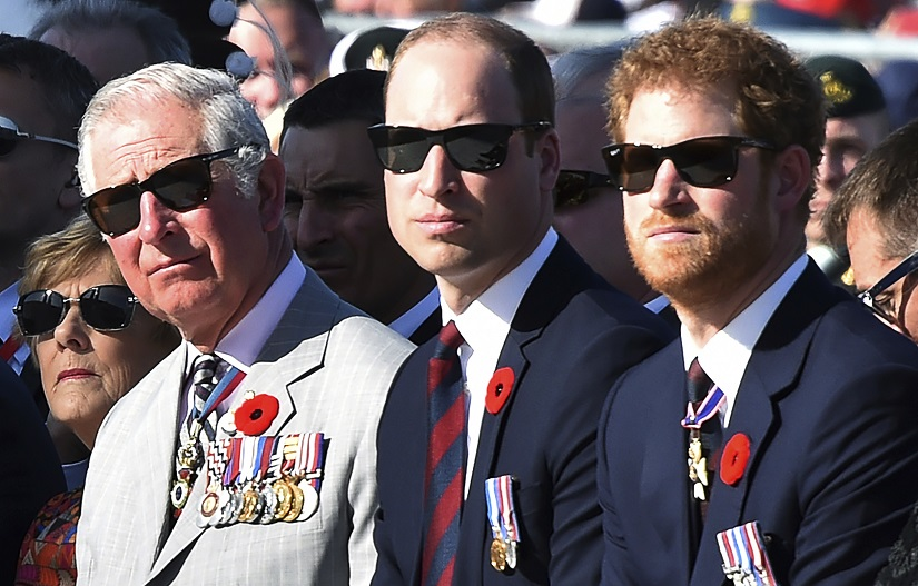 Britain's Charles, Prince of Wales, left, Britain's Prince William, Duke of Cambridge and Britain's Prince Harry, right, attend a ceremony marking the 100th anniversary of the Battle of Vimy Ridge at the WWI Canadian National Vimy Memorial in Vimy, France, Sunday, April 9, 2017. The commemorative ceremony at the memorial honors Canadian soldiers who were killed or wounded during the Battle of Vimy Ridge in April 1917. (Philippe Huguen/Pool Photo via AP)