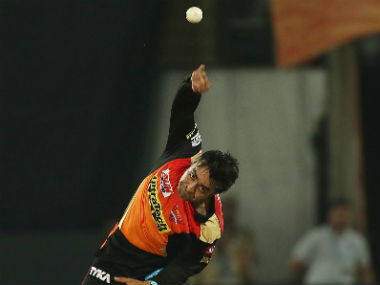 SRH's Rashid Khan bowls against RCB in the first match of IPL 2017. Sportzpics