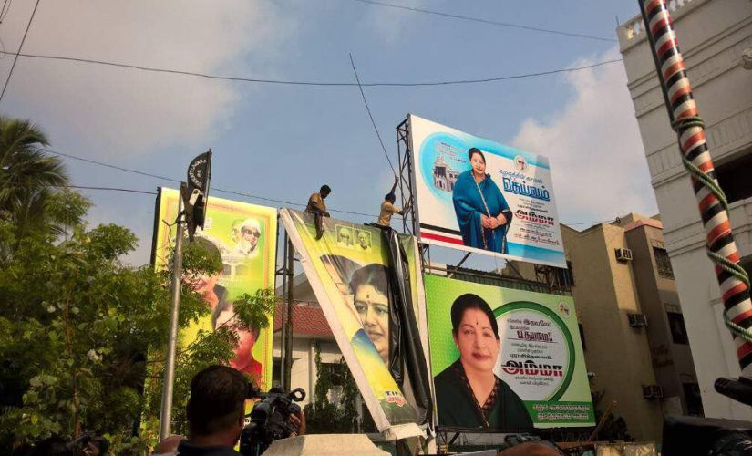 Banners and posters bearing VK Sasikala's solo pictures were replaced with Jayalalithaa's at AIADMK headquarters in Chennai. Image courtesy: TS Sudhir
