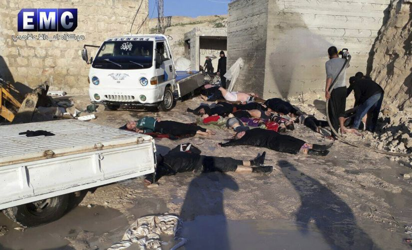 This photo provided by the Syrian anti-government activist group Edlib Media Center on Tuesday, shows victims of a suspected chemical attack, in the town of Khan Sheikhoun, northern Idlib province, Syria. AP