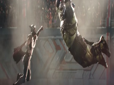 Chris Hemsworth, as Thor, and the Incredible Hulk in a still from Thor: Ragnarock. YouTube