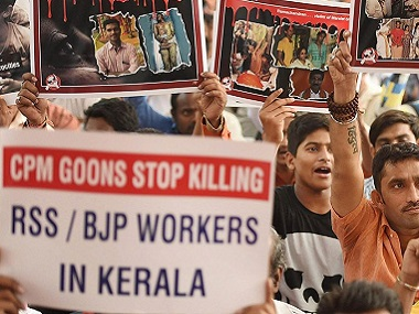 BJP protest killing of RSS member in Kannur. Representational image. PTI