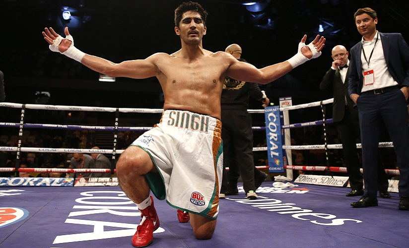 Britain Boxing - Vijender Singh v Matiouze Royer - Copper Box Arena, London - 30/4/16 Vijender Singh celebrates his win Mandatory Credit: Action Images / Peter Cziborra EDITORIAL USE ONLY. - RTX2CF1D