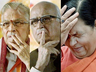 File image of Murli Manohar Joshi, LK Advani and Uma Bharti