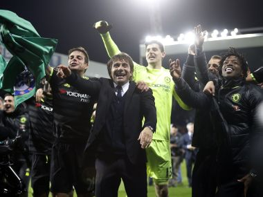 Chelsea manager Antonio Conte and players celebrate winning the Premier League title. Reuters