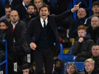 Chelsea's Italian head coach Antonio Conte gestures on the touchline during a match. AFP