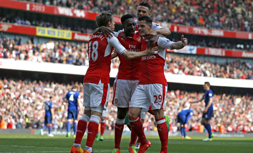 Granit Xhaka and Danny Welbeck score to sink a much-changed Manchester United. AFP