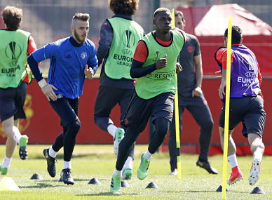 Manchester United's Paul Pogba and David De Gea, during the training session at the team's training complex. AP