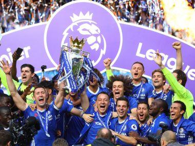 Chelsea lift the Premier League trophy at Stamford Bridge. Twitter @premierleague