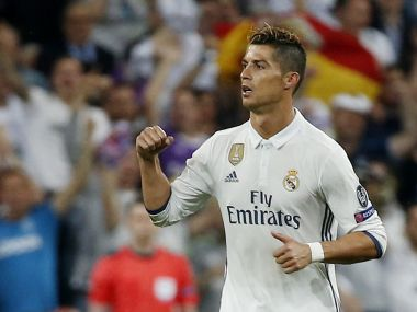 Real Madrid's Cristiano Ronaldo celebrates scoring their second goal. Reuters