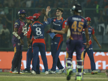 Delhi Daredevils players celebrate after pulling off a seven-run win. Sportzpics