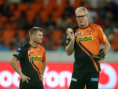 File photo of Sunrisers Hyderabad Head Coach Tom Moody and captain David Warner. Sportzpics