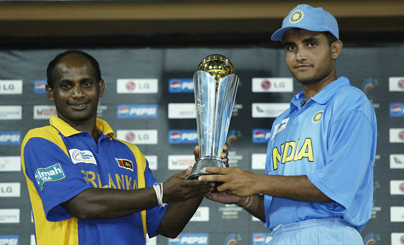The heavens intervened twice in the 2004 Champions Trophy final and forced Sanath Jayasuriya and Sourav Ganguly to share the trophy. Getty