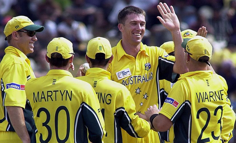 Glenn McGrath decimated the New Zealand batting line-up with a fiery spell. AFP