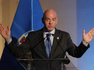 Fifa president Gianni Infantino gives a speech during the 67th Ordinary CONMEBOL Congress. AFP