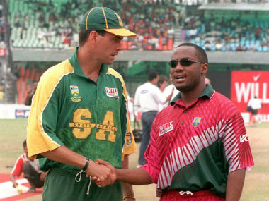 Hansie Cronje and Brian Lara, captain of South Africa and West Indies respectively, shake hands before the final. AFP
