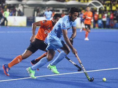 India's Harmanpreet Singh in actin against Malaysia. Image courtesy: Twitter/ @Hockey India