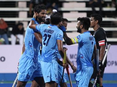 Indian players congratulate Rupinder Pal Singh after he scored against New Zealand. Image courtesy: Twitter/ @HockeyIndia