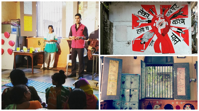 (Clockwise from above left) Mentalist Mohit rao performs at a Mother's Day celebration, organised by the NGO Prerana, for the women of Kamathipura; graffiti on a compound wall raises awareness on HIV/AIDs; the classroom where the Mother's Day event was held