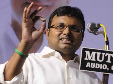 File photo of former Union minister P Chidambaram's son Karti Chidambaram. PTI