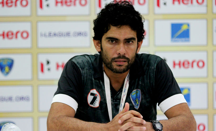 Khalid Jamil addressing a post-match press conference during his time as coach of Mumbai FC. Image Courtesy: Mumbai FC