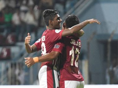 File image of Mohun Bagan players celebrating. Image courtesy: Twitter @Mohun_BaganAC