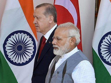 Prime Minister Narendra Modi with Turkish President Recep Tayyip Erdogan in New Delhi. PTI
