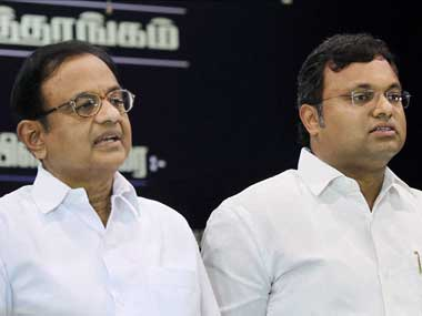 File image of P Chidambaram and his son Karti. PTI