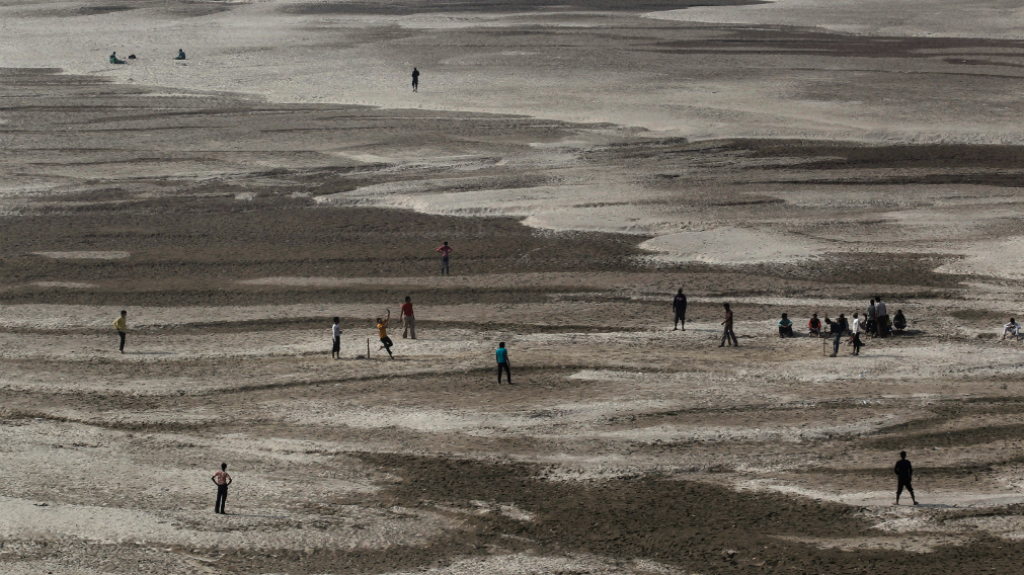 Dried bed of river Ganga in Patna. Reuters