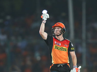 Sunrisers Hyderabad captain David Warner celebrates as Sunrisers Hyderabad beat Gujarat Lions by 8 wickets. SportzPics