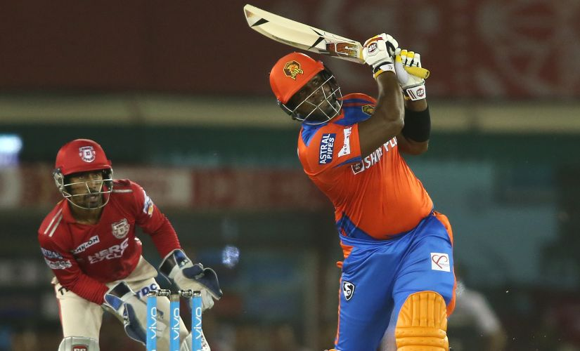 Dwayne Smith of the Gujarat Lions hits a six against Kings XI Punjab. Sportzpics/IPL