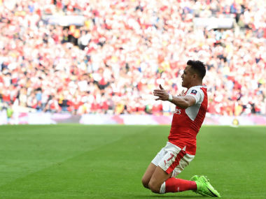 Alexis Sanchez celebrates after opening Arsenal's account against Chelsea in the final of FA Cup. Twitter: @Squawka