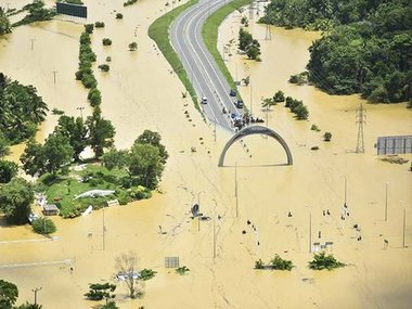 A road submerged in floodwaters in the Sri Lanka. AP