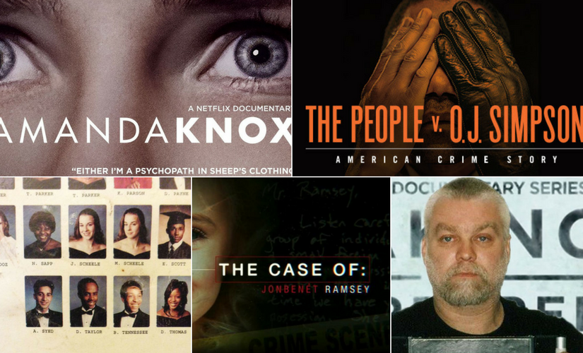 (Clockwise) Amanda Knox, The People Vs OJ Simpson, Serial, The Case of Jon Benet Ramsey, Making of a Murderer.