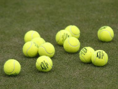 Tennis balls during a practice session at Wimbledon. Reuters