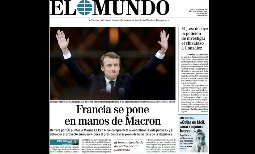 Front page of Spanish newspaper El Mundo