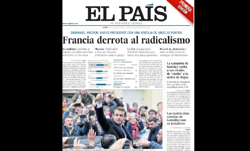 Front page of Spanish newspaper El Pais