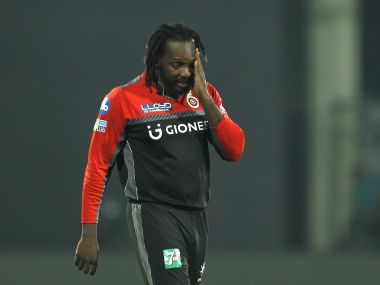 Chris Gayle of the Royal Challengers Bangalore reacts during the match against Delhi Daredevils. Sportzpics/IPL