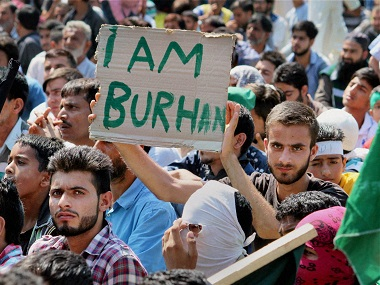 File photo of a protest in Jammu and Kashmir after Burhan Wani's killing. PTI
