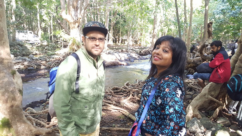 Screenwriters Siddharth Singh and Garima Wahal during a river shoot in Mauritius for Raabta.