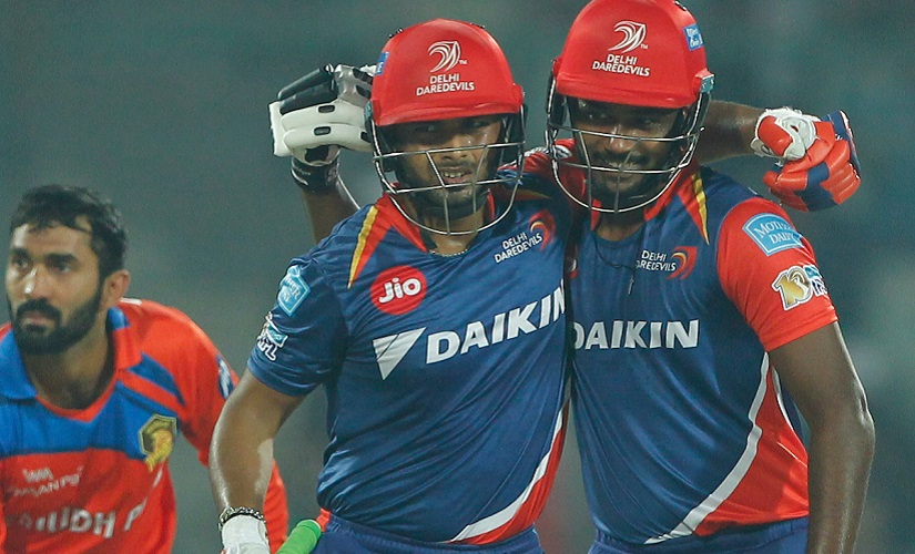 Rishabh Pant of the Delhi Daredevils celebrates his Fifty with Sanju Samson of the Delhi Daredevils during match 42 of the Vivo 2017 Indian Premier League between the Delhi Daredevils and the Gujarat Lions held at the Feroz Shah Kotla Stadium in Delhi, India on the 4th May 2017 Photo by Deepak Malik - Sportzpics - IPL
