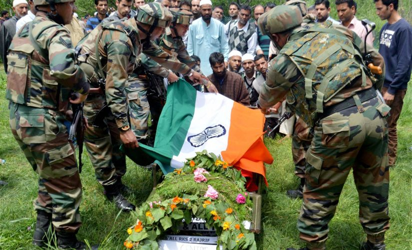 Funeral of Indian Army officer Ummer Fayaz who was murdered by militants in Shopian district on Wednesday. PTI