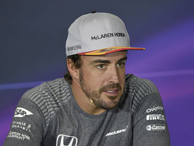 McLaren's Spanish driver Fernando Alonso sits during a press conference at the Circuit de Catalunya on May 11, 2017 in Montmelo on the outskirts of Barcelona ahead of the Spanish Formula One Grand Prix. / AFP PHOTO / LLUIS GENE
